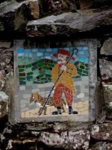along stone walls